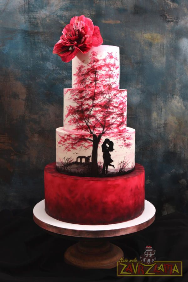 Silhouette Wedding Cake by Nasa Mala Zavrzlama - http://cakesdecor.com/cakes/283009-silhouette-wedding-cake