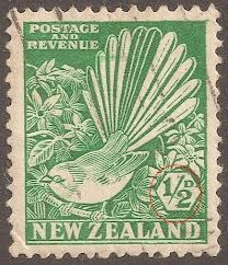 New Zealand stamps. Uses a green as basic colour, very NZ themed. Uses native animals to NZ.