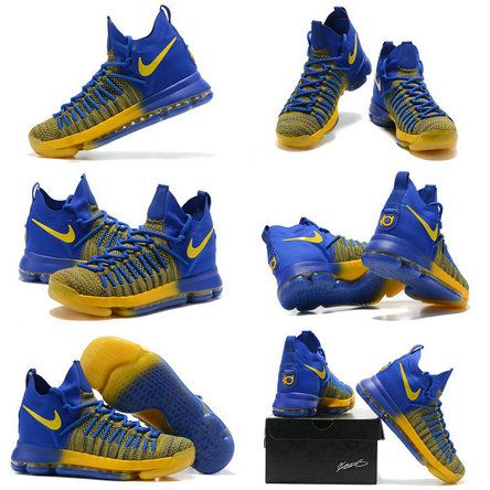 Nike Zoom Cheap KD 9 IX Elite 2017 NBA Playoffs Golden State Warriors Blue Gold Newest Kevin Durant Shoes