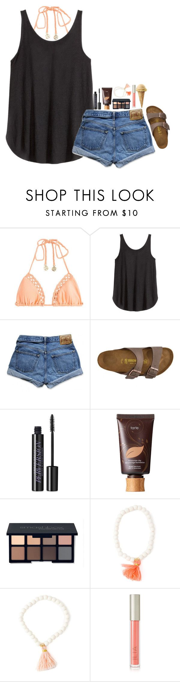 """""""contest entry// boardwalk!"""" by mehanahan ❤ liked on Polyvore featuring Luli Fama, H&M, Abercrombie & Fitch, Birkenstock, Urban Decay, tarte, Smashbox and Ilia"""