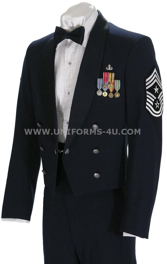 My husband's attire! The Air Force enlisted mess dress uniform. He's a different rank, job and has different medals of course, but you get the idea.
