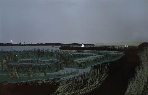 Island A/P (Creeksea Series)   by Edward Hughes Linocut
