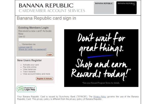 banana republic credit card log in