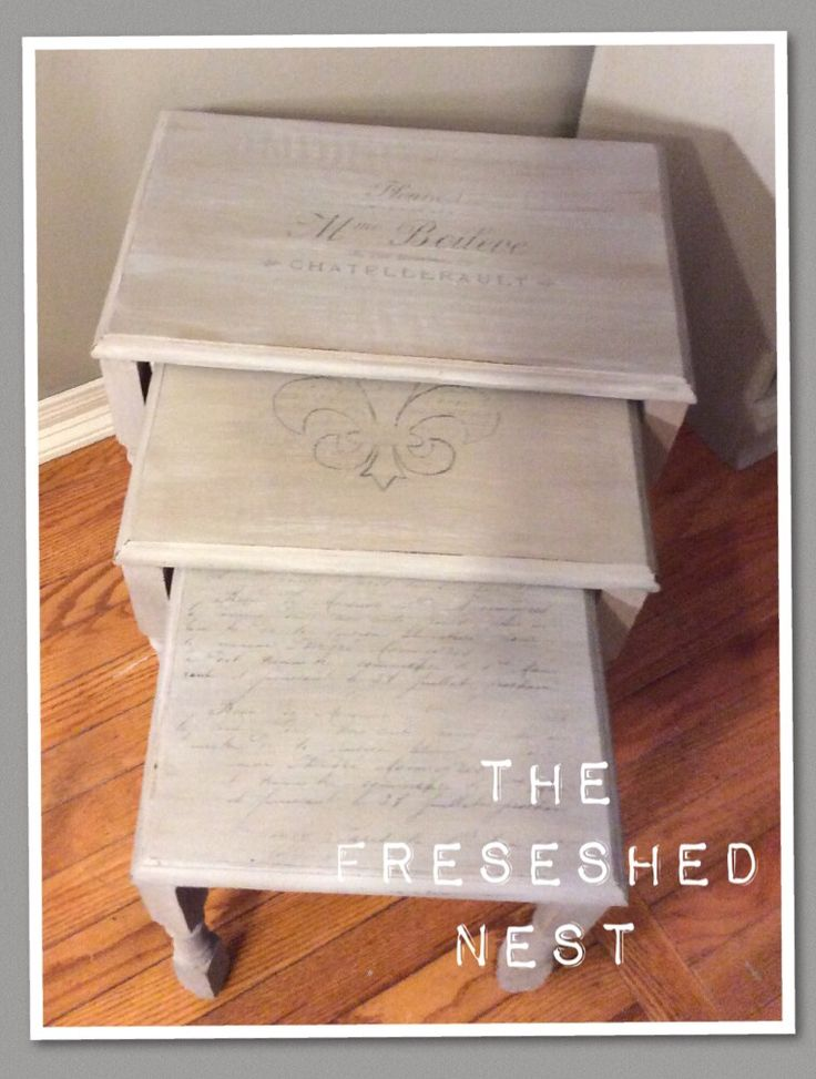 The Refreshed Nest. Nesting Tables With Restoration Hardware Inspired  Vintage Gray French Typography. Www