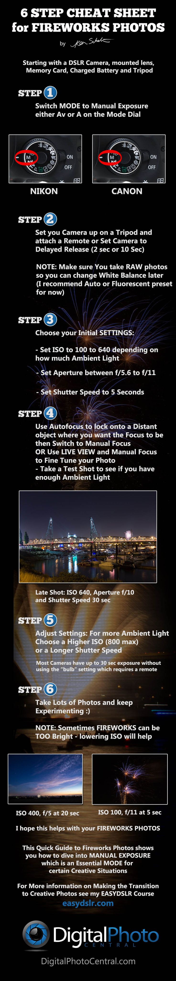 Free Fireworks Photo Video Tutorial and Cheat Sheet to get you taking awesome Night Fireworks photos.