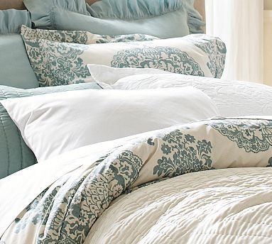 Lucianna Medallion Duvet Cover & Sham - Blue #potterybarn $99 on sale but have to buy the insert