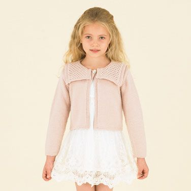 The most gorgeous Sailor-style cardie with pretty lace stitches in Sublime Powderpuff pink