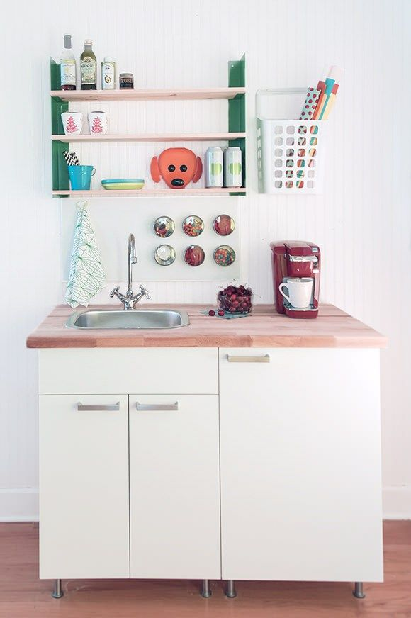 Build A DIY Mini Kitchen For Under $400 #kitchen #colour #schemes http://kitchen.nef2.com/build-a-diy-mini-kitchen-for-under-400-kitchen-colour-schemes/  #mini kitchen # Build A DIY Mini Kitchen For Under $400 Here s a super stylish mini kitchen for your home office, studio, guest suite, or family room. It only costs a few hundred dollars and can easily be built in a day or two with the help of a friend. All it takes is a quick trip to your local IKEA store and a little elbow grease! The…