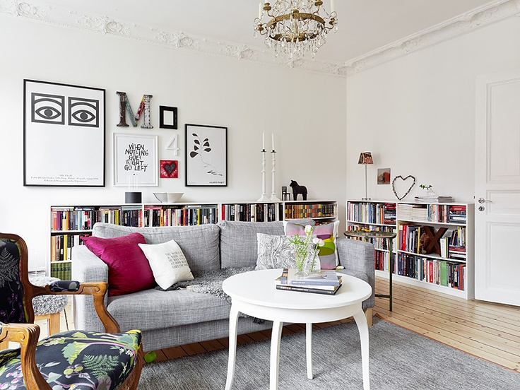 White Scandi style lounge - light grey with pops of colour