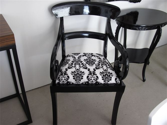 Solid Wood Armchair Given A Gloss Black Marabelle Make