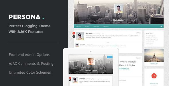 Persona - Responsive AJAX Blog and Portfolio Theme   http://themeforest.net/item/persona-responsive-ajax-blog-and-portfolio-theme/4426398?ref=damiamio          Persona Theme is a responsive WordPress Theme for bloggers and small companies designed to look beautiful on any device. These are just some of the features:  Multipurpose – 7 Post Formats Supported Weather you're a blogger, freelancer or a startup in need for the perfect blogging theme, your needs will be fulfilled. Write Standard…