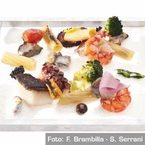 Insalata di mare e rigatoni alla carbonara grigliati - Chef Davide Scabin