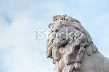 South Bank Lion on Westminster Bridge. Royalty Free Stock Photo