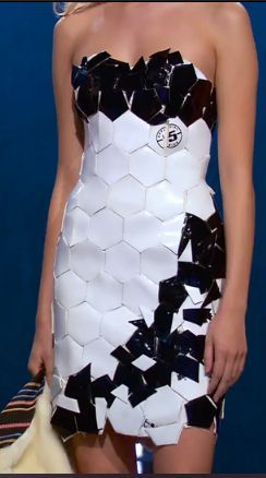 Project Runway--Kini's Soccer Ball Dress.  So cool!!