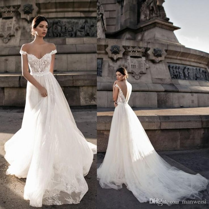 Discount Gali Karten 2018 Wedding Dresses Sheer Backless Bohemia Sexy Off The Shoulder Lace Appliqued Bridal Gowns Custom Made Bride Dress A Line Wedding Dresses With Cap Sleeves Classic A Line Wedding Dresses From Manweisi, $134.13| DHgate.Com