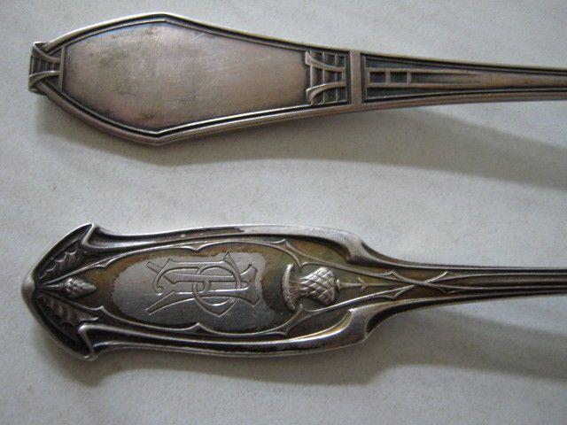 300e   6 łuzek i 20os fish    Wunderschönes Jugendstil-Besteck, 800 Silber, Entwurf ??