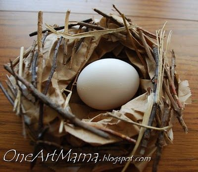 Easy craft for the letter N -- Make a nest!  Peeps to the Rescue | One Artsy Mama