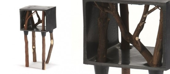 Raw Furniture Set Made Of Molded Plastic And Tree Branches