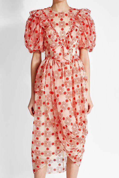 Drapiertes Kleid mit Volants und Stickereien von Simone Rocha