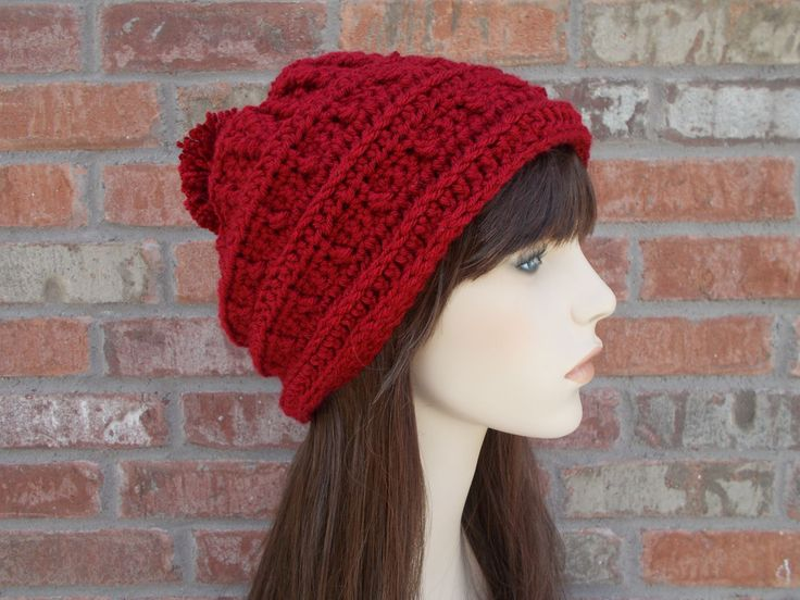 Deep Red Hat, Slouchy Beanie, Slouch Hat, Red Beanie with Pom Pom, Womens Hats, Crochet Hat, Knit Hat, Gifts for Teen Girls, Winter Hat by foreverandrea on Etsy
