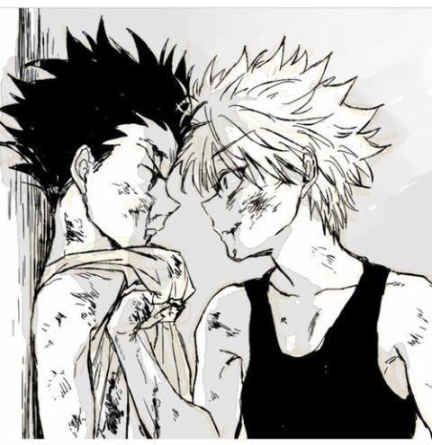 Gon Freecs and Killua Zoldyck; Hunter x Hunter, fighting drawing