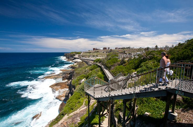 Walkers on the Bondi to Coogee Walk approaching Waverly Cemetery.