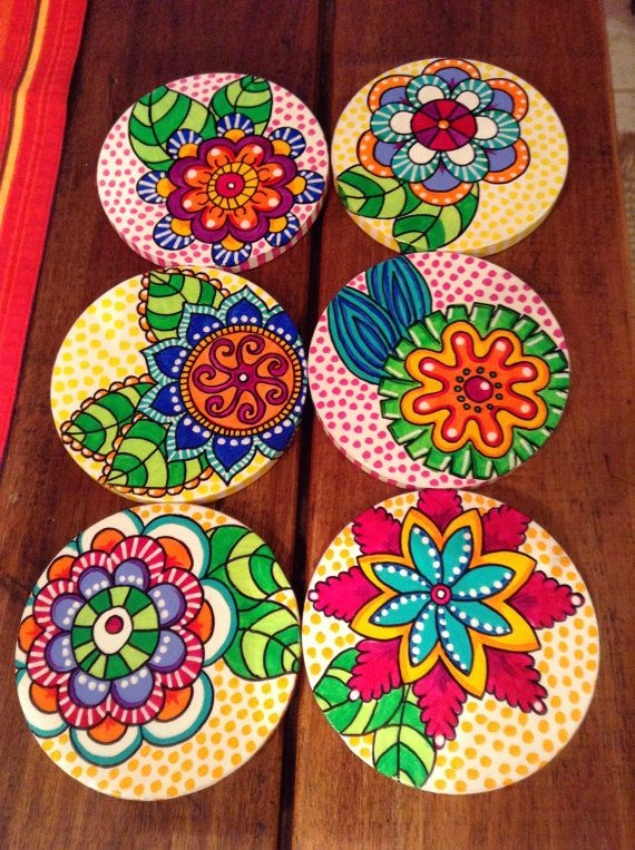 6 x hand painted bamboo coasters with stand