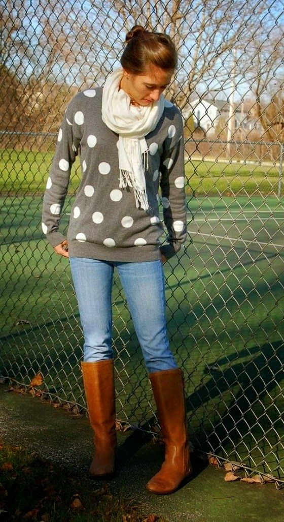 Casual Fall Outfit With Long Boots and Scarf: