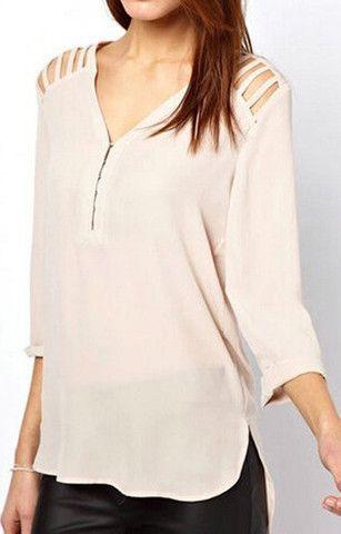 V-Neck Shoulder Decorated Blouse