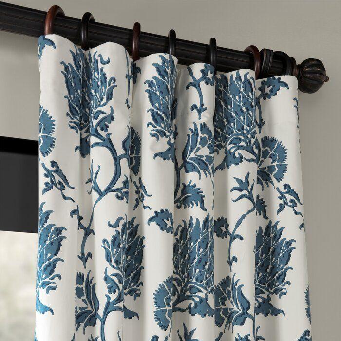 Tyne Printed 100 Cotton Floral Room Darkening Rod Pocket Single