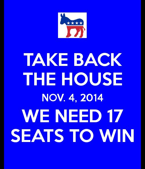 We need to pick up 17 seats to TAKE BACK THE HOUSE. ALL Democrats VOTE and WE WILL DO IT!