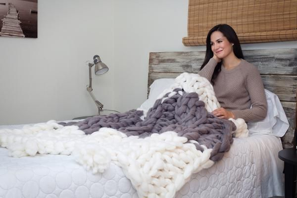 Cable Knit Blanket with Tassels
