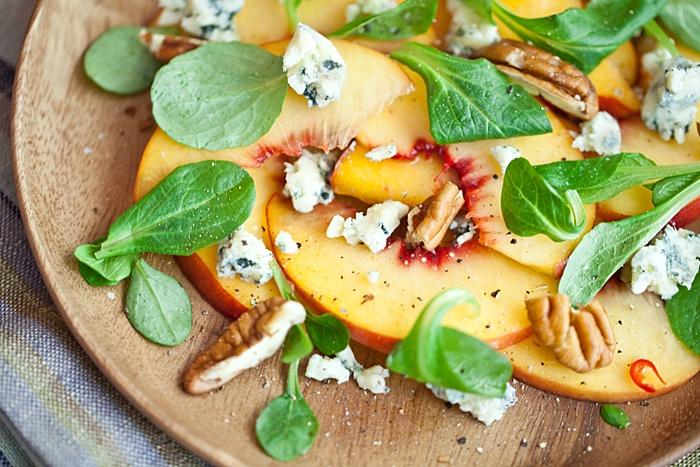 Peach Salad...Peaches, Blue Cheese Crumbles, Spinach, and Pecans