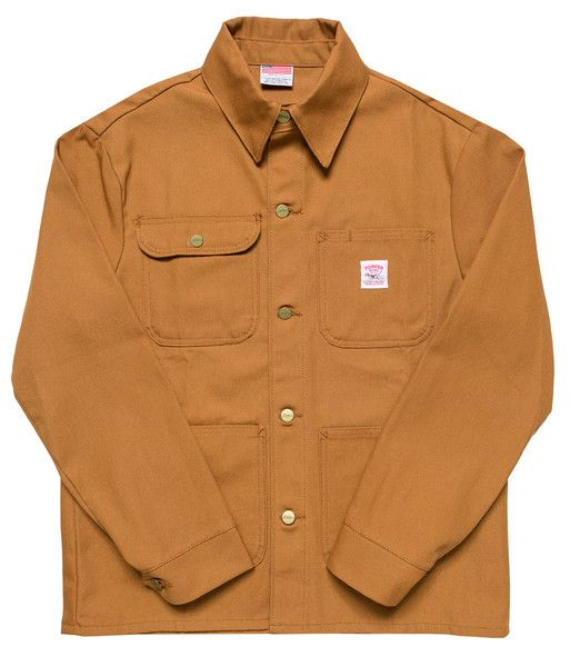 LOT-46 The Brown Duck Chore Coat with Standard Collar is made of lightweight duck canvas which is 100% cotton and machine washable. This coat has 4 top-loading patch pockets, one of which snaps. It fe