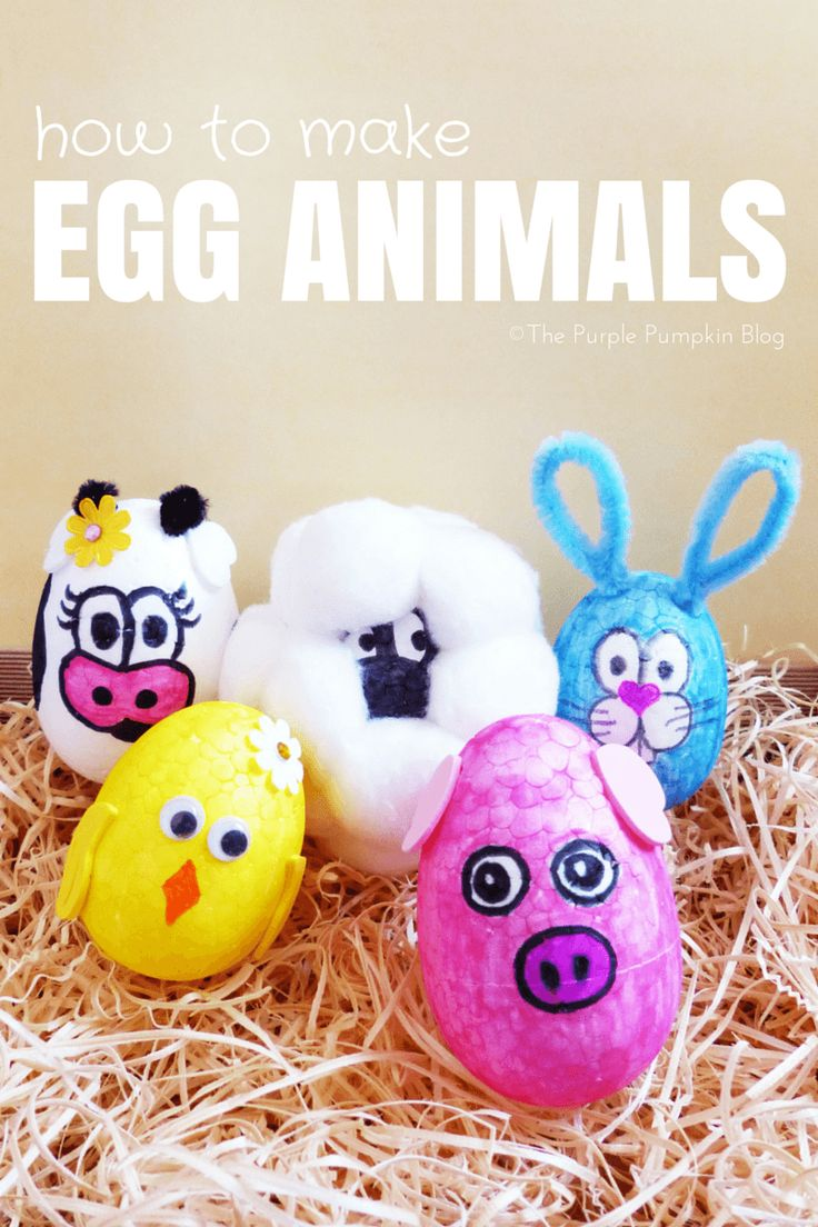 How to make egg animals - a fun kids craft using polystyrene eggs, marker pens and other embelishments