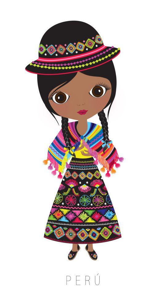 Peru traditional outfit. Ilustración. Perú.