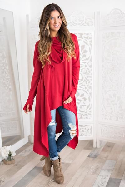 Remmy Sweatshirt Tunic (Red)