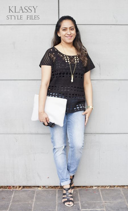 katies black lace top with #distressedjeans