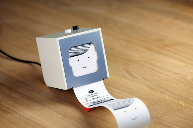 """This is the little printer by Berg. it prints daily news, pictures, puzzles, gossip from your friends, weather updates, calendar notifications, horoscopes, birthday reminders, a """"word of a day"""" and all kinds of other things. You can also send messages to friends' printers. me gusta."""
