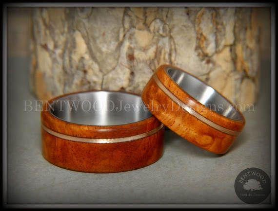 Gebogen hout ringen  Ambonees Burl houten ringen met bronzen