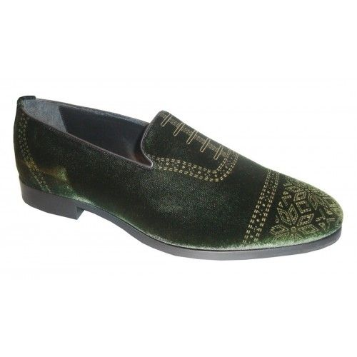 Arfango loafer in green velvet with needlework