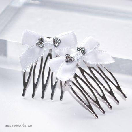 barette noeud velours strass cristal peigne cheveux chignon de neige strass cristal accessoire cheveux enfant