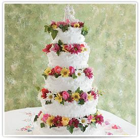 Lindsey:  This five-tiered traditional tower bursts with spring at every delectable level.    The diminutive columns give this cake its commanding presence, as well as providing the perfect backdrop for your fresh flower decoration* that can be custom designed with our floral assistant.  #bakery #cake #wedding