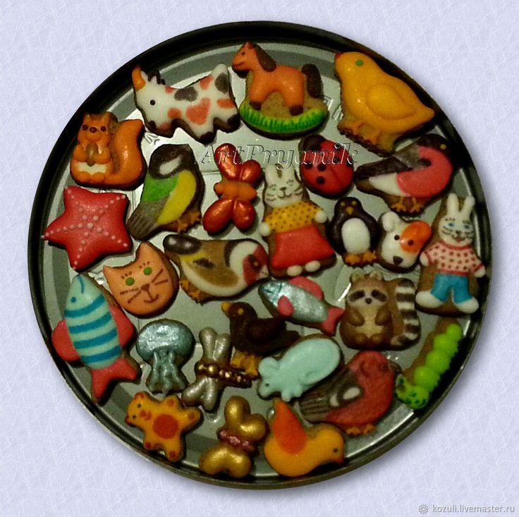 Купить Набор нано-пряников (0.5-2 см) Карманный зоопарк, елочные игрушки для кукольного чаепития, кукольная миниатюра,  nano-cookies, toy cookies, edible miniature food