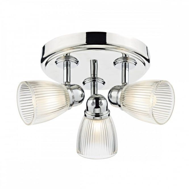 Modern Polished Nickel 3 Light Bathroom Ceiling Spotlight Cluster