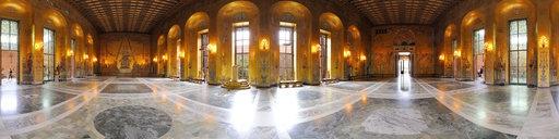 Gold Room (Gyllene Salen) of Stockholm City Hall Stadshuset designed by architect   Ragnar Östberg. (panorama)