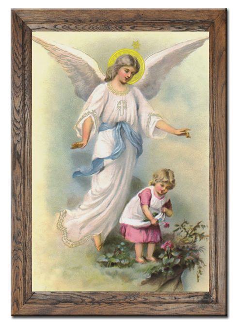 Anioł stróż do pokoju dziecka. Wspaniały prezent na Chrzest, Komunię lub Bierzmowanie.  Zobaczcie inne nasze obrazy w dębowych ramach na http://bit.ly/wdebowejramie lub zamówcie ten pisząc na biuro.rakbis@gmail.com #prezent #obraz #anioł #stróż #dzieci #rama #dębowa