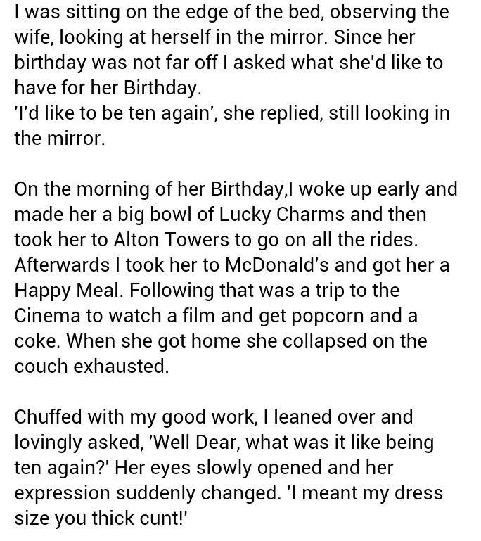 Funny jokes - Wifes birthday - http://jokideo.com/funny-jokes-wifes-birthday/