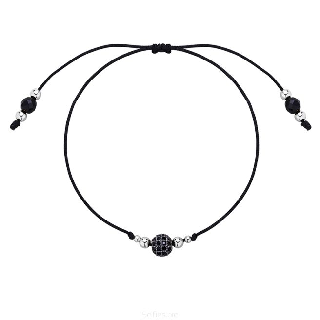 Bransoletka / czarne oczko cyrkoniowe / srebro / czarny jedwabny sznurek - Selfie Jewellery - Sklep Internetowy
