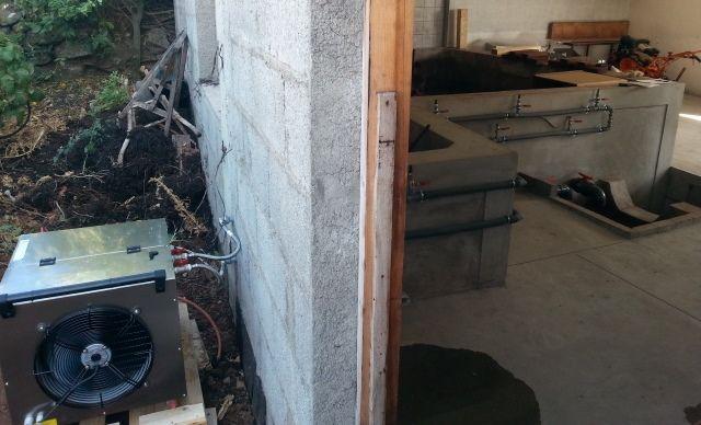 Equipo de frío WINUS 3 instalado para la refrigeración de la fermentación - maceración en lagares tradicionales de hormigón